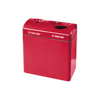 Rubbermaid FGFGR3418TC Recycling Centers Red Fiberglass 2-Section Can/Trash Recycling Station with Rigid Plastic Liner (2) 23 Gallon (FGFGR3418TCPLRD)