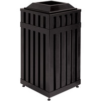 Rubbermaid FGMHSQ18 Avenue Open-Top Black Square Steel Waste Receptacle with Rigid Plastic Liner 16 Gallon (FGMHSQ18PLBK)