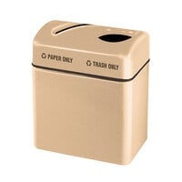 Rubbermaid FGR2416 Recycling Centers Tan Fiberglass 2-Section Paper/Trash Recycling Center with Rigid Plastic Liner (2) 16 Gallon (FGFGR2416TPPLTN)