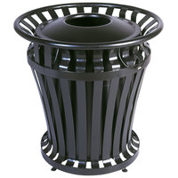 Rubbermaid FG402000BLA WeatherGard Black Round Steel Waste Receptacle with Brute Rigid Plastic Liner 20 Gallon