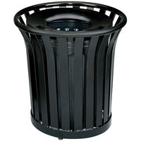 Rubbermaid FGMT32PLBK Americana Series Open-Top Black Round Steel Waste Receptacle with Rigid Plastic Liner 36 Gallon