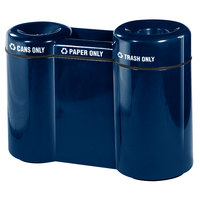 Rubbermaid FGFGR5220 Recycling Centers Navy Blue Fiberglass Shapes 3-Section Can/Paper/Trash Recycling Station with Rigid Plastic Liner 21, 15, 23 Gallon (FGFGR5220PLNBL)