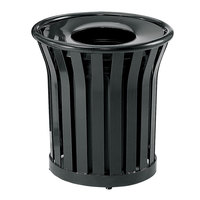 Rubbermaid FGMT22PLBK Americana Series Open-Top Black Round Steel Waste Receptacle with Rigid Plastic Liner 24 Gallon