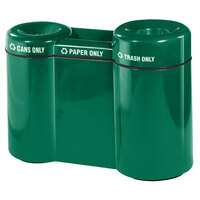 Rubbermaid FGFGR5220 Recycling Centers Empire Green Fiberglass Shapes 3-Section Can/Paper/Trash Recycling Station with Rigid Plastic Liner 21, 15, 23 Gallon (FGFGR5220PLEGN)