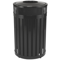 Rubbermaid FGMH24 Avenue Open-Top Black Round Steel Waste Receptacle with Rigid Plastic Liner 23 Gallon (FGMH24PLBK)