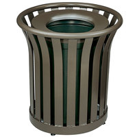 Rubbermaid FGMT32PLABZ Americana Series Open-Top Architectural Bronze Round Steel Waste Receptacle with Rigid Plastic Liner 36 Gallon