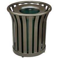 Rubbermaid FGMT22PLABZ Americana Series Open-Top Architectural Bronze Round Steel Waste Receptacle with Rigid Plastic Liner 24 Gallon
