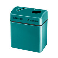 Rubbermaid FGR2416 Recycling Centers Sea Green Fiberglass 2-Section Paper/Trash Recycling Center with Rigid Plastic Liner (2) 16 Gallon (FGFGR2416TPPLSGN)