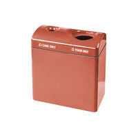 Rubbermaid FGFGR3418TC Recycling Centers Terra Cotta Fiberglass 2-Section Can/Trash Recycling Station with Rigid Plastic Liner (2) 23 Gallon (FGFGR3418TCPLTRC)