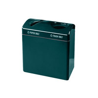 Rubbermaid FGR3418 Recycling Centers Hunter Green Fiberglass Large Capacity 2-Section Paper/Trash Recycling Center with Rigid Plastic Liner (2) 23 Gallon (FGFGR3418TPPLHGN)