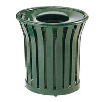Rubbermaid FGMT22PLVSGN Americana Series Open-Top Green Round Steel Waste Receptacle with Rigid Plastic Liner 24 Gallon
