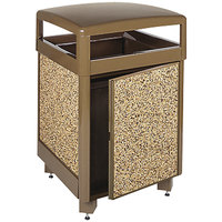 Rubbermaid R38SD Aspen Brown with Desert Brown Stone Panels Square Steel Waste Receptacle with Side Door, Cam Lock and Rigid Plastic Liner 38 Gallon (FGR38SD201PL)