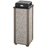 Rubbermaid FGR40WU6000 Aspen Architectural Bronze with Glacier Gray Stone Panels Square Steel Cigarette Receptacle with Weather Shield