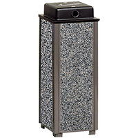 Rubbermaid R40WU Aspen Architectural Bronze with Glacier Gray Stone Panels Square Steel Cigarette Urn with Weather Shield (FGR40WU6000)