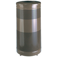 Rubbermaid FGS3ET Classics Hammertone Bronze Round Steel Drop Top Waste Receptacle with Levelers and Rigid Plastic Liner 25 Gallon (FGS3ETHBZPL)
