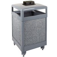 Rubbermaid FGR48HTWU2000PL Aspen Hinged-Top Gray with Dove Gray Stone Panels Square Steel Waste Receptacle with Weather Urn and Rigid Plastic Liner 48 Gallon