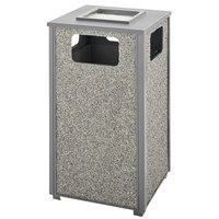 Rubbermaid FGR18SU2000PL Aspen Ash/Trash Gray with Dove Gray Stone Panels Square Steel Waste Receptacle with Rigid Plastic Liner 24 Gallons
