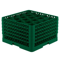 Vollrath TR11GGGGG Traex® Rack Max Full-Size Green 20-Compartment 11 7/8 inch Glass Rack