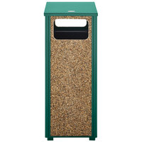 Rubbermaid FGR12202PL Aspen Flat-Top Empire Green with Desert Brown Stone Panels Square Steel Waste Receptacle with Rigid Plastic Liner 12 Gallons