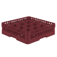 Vollrath TR8D Traex® Full-Size Burgundy 16-Compartment 4 13/16 inch Glass Rack