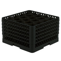 Vollrath TR11GGGGA Traex® Rack Max Full-Size Black 20-Compartment 11 7/8 inch Glass Rack with Open Rack Extender On Top
