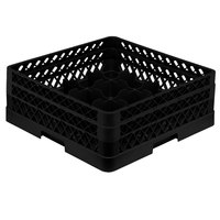 Vollrath TR8DA Traex® Full-Size Black 16-Compartment 6 3/8 inch Glass Rack with Open Rack Extender On Top