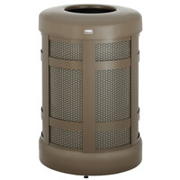 Rubbermaid FGA38TABZPL Architek Drop-In Top Architectural Bronze Steel Waste Container with Rigid Plastic Liner 38 Gallon