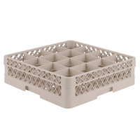 Vollrath TR8D Traex® Full-Size Beige 16-Compartment 4 13/16 inch Glass Rack