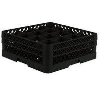 Vollrath TR8DD Traex® Full-Size Black 16-Compartment 6 3/8 inch Glass Rack