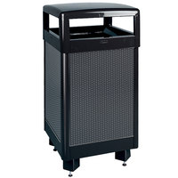 Rubbermaid FGR36HT Dimension 500 Series Hinged-Top Black with Anthracite Perforated Steel Panels Square Steel Waste Receptacle with Rigid Plastic Liner 29 Gallon (FGR36HT500PL)
