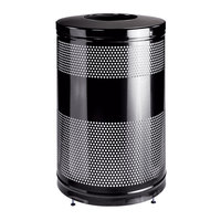Rubbermaid FGS55ETBKPL Classics Black Round Steel Drop Top Waste Receptacle with Levelers and Rigid Plastic Liner 51 Gallon