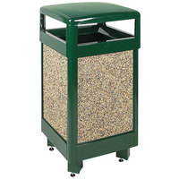 Rubbermaid R36HT Aspen Hinged-Top Empire Green with Desert Brown Stone Panels Square Steel Waste Receptacle with Rigid Plastic Liner 29 Gallon (FGR36HT202PL)