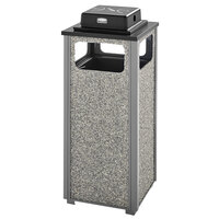 Rubbermaid FGR12WU2000PL Aspen Ash/Trash Gray with Dove Gray Stone Panels Square Steel Waste Receptacle with Weather Urn and Rigid Plastic Liner 12 Gallons