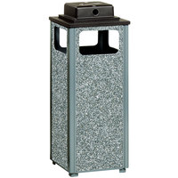 Rubbermaid R12WU Aspen Ash/Trash Gray with Dove Gray Stone Panels Square Steel Waste Receptacle with Weather Urn and Rigid Plastic Liner 12 Gallons (FGR12WU2000PL)