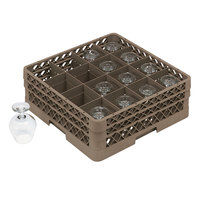 Vollrath TR13D Traex® Full-Size Beige 16-Compartment 2 1/16 inch Glass Rack