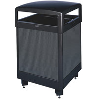 Rubbermaid FGR48HT Dimension 500 Series Hinged-Top Black with Anthracite Perforated Steel Panels Square Steel Waste Receptacle with Rigid Plastic Liner 48 Gallon (FGR48HT500PL)