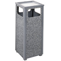 Rubbermaid R12SU Aspen Ash/Trash Gray with Dove Gray Stone Panels Square Steel Waste Receptacle with Rigid Plastic Liner 12 Gallons (FGR12SU2000PL)