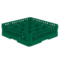Vollrath TR8D Traex Full-Size Green 16-Compartment 4 13/16 inch Glass Rack