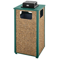 Rubbermaid FGR18WU202PL Aspen Ash/Trash Empire Green with Desert Brown Stone Panels Square Steel Waste Receptacle with Weather Urn and Rigid Plastic Liner 24 Gallons