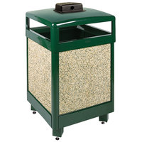 Rubbermaid FGR48HTWU202PL Aspen Hinged-Top Empire Green with Desert Brown Stone Panels Square Steel Waste Receptacle with Weather Urn and Rigid Plastic Liner 48 Gallon