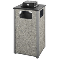 Rubbermaid FGR18WU2000PL Aspen Ash/Trash Gray with Dove Gray Stone Panels Square Steel Waste Receptacle with Weather Urn and Rigid Plastic Liner 24 Gallons