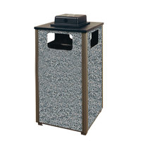Rubbermaid R18WU Aspen Ash/Trash Gray with Dove Gray Stone Panels Square Steel Waste Receptacle with Weather Urn and Rigid Plastic Liner 24 Gallons (FGR18WU2000PL)