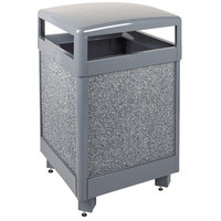 Rubbermaid FGR38HT2000PL Aspen Hinged-Top Gray with Dove Gray Stone Panels Square Steel Waste Receptacle 38 Gallon with Rigid Plastic Liner