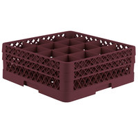 Vollrath TR8DD Traex® Full-Size Burgundy 16-Compartment 6 3/8 inch Glass Rack