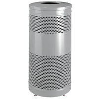 Rubbermaid FGS3ETSMPLBK Classics Silver Metallic Round Steel Drop Top Waste Receptacle with Levelers and Rigid Plastic Liner 25 Gallon