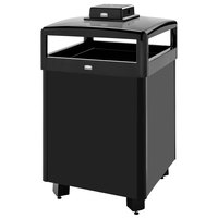 Rubbermaid FGR38HTWUSBKPL Dimension Standard Series Black Solid Panels Square Steel Waste Receptacle with Weather Urn and Rigid Plastic Liner 38 Gallon