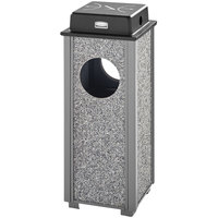 Rubbermaid FGR41WU2000PL Aspen Ash/Trash Gray with Dove Gray Stone Panels Square Steel Waste Receptacle with Weather Shield and Rigid Plastic Liner 2.5 Gallon