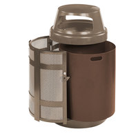 Rubbermaid FGA38SDABZPL Architek Canopy Top Architectural Bronze Steel Waste Container with Side Door and Rigid Plastic Liner 38 Gallon