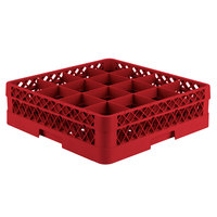 Vollrath TR8D Traex® Full-Size Red 16-Compartment 4 13/16 inch Glass Rack