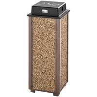 Rubbermaid FGR40WU201 Aspen Brown with Desert Brown Stone Panels Square Steel Cigarette Receptacle with Weather Shield